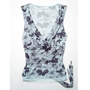 Anthropologie Moth Floral Top Faux Wrap